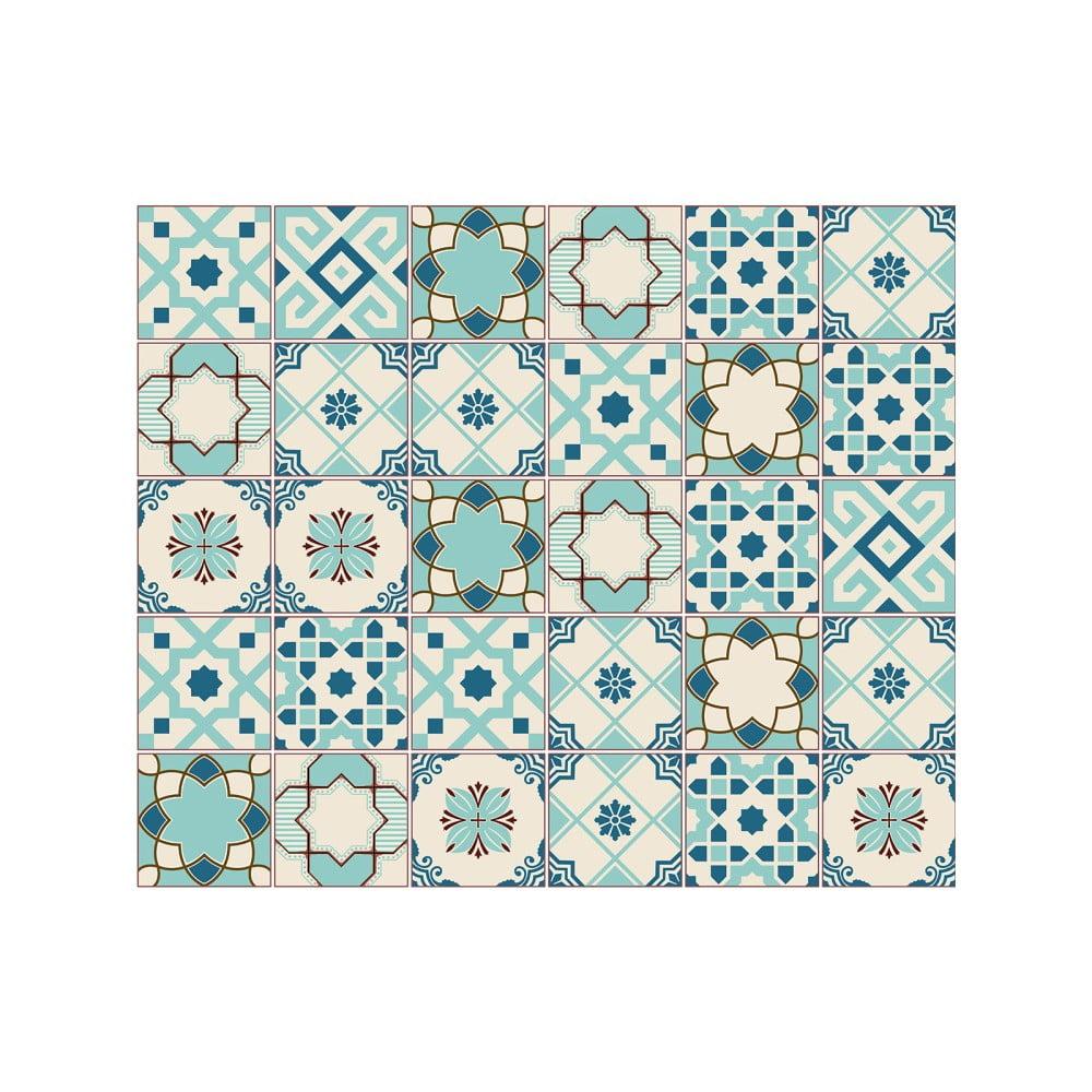 Sada 30 nástěnných samolepek Ambiance Cement Tiles Franzy, 10 x 10 cm
