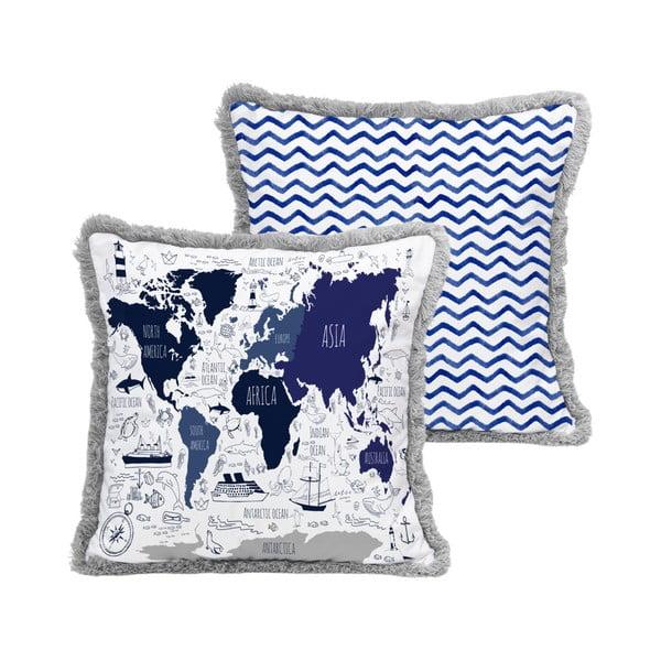 Dekorativní povlak na poštář Little Nice Things Blue Map, 45x45cm