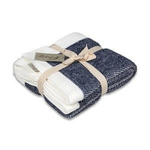 Modro-bílá bavlněná deka Couture, 130 x 170 cm