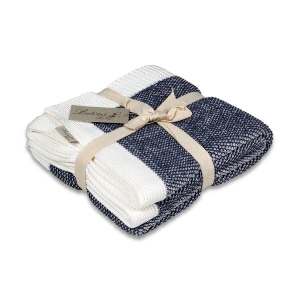 Modro-bílá bavlněná deka Couture