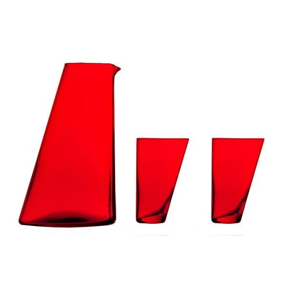 Set carafă și 2 pahare din sticlă handmade Surdic Ponza, roșu