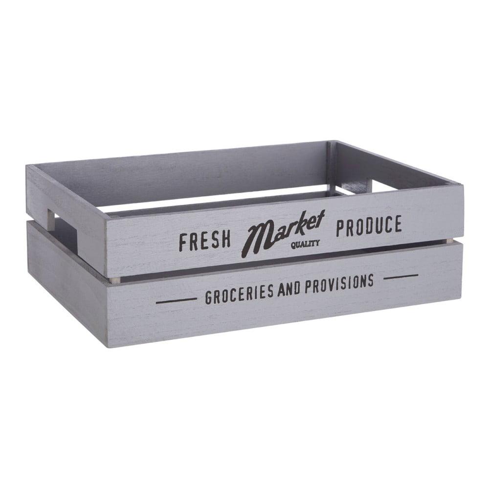 Šedivý dřevěný úložný box na zeleninu Premier Housewares Farmers Market, 28 x 38 cm