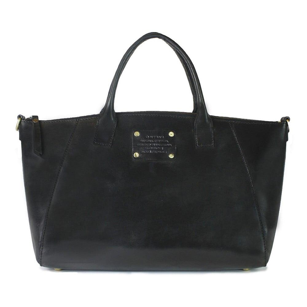 Černá kožená kabelka O My Bag Fly Violet Midi