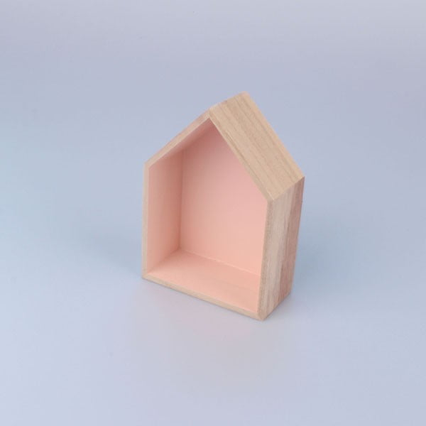 Závěsná polička Domeček 12x17 cm, růžová