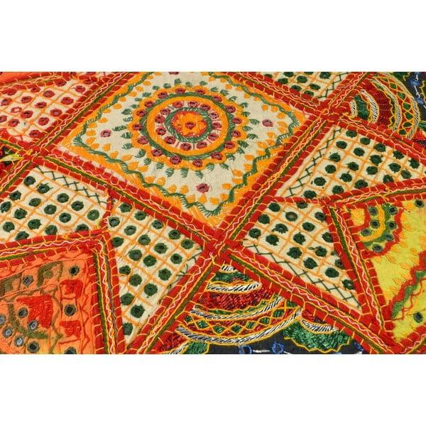 Ručně vyšívaný polštář Rajastan, oranžový