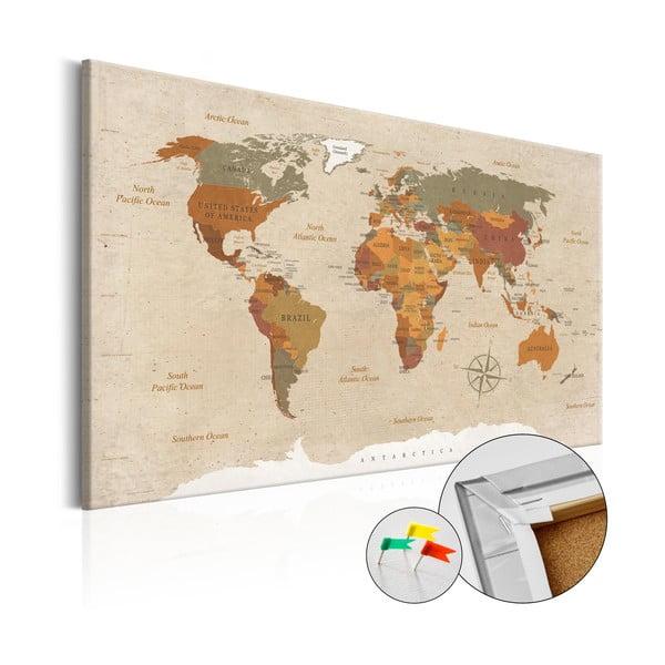 Beige Chic fali világtérkép, 120 x 80 cm - Bimago