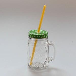 Cană din sticlă cu pai și capac Dakls, 450 ml, verde - galben