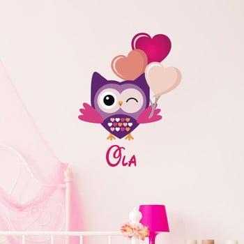 Autocolant de perete cu nume Ambiance Festive Owl de la Ambiance