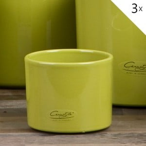 Sada 3 zelených květináčů Ovale, 11 cm