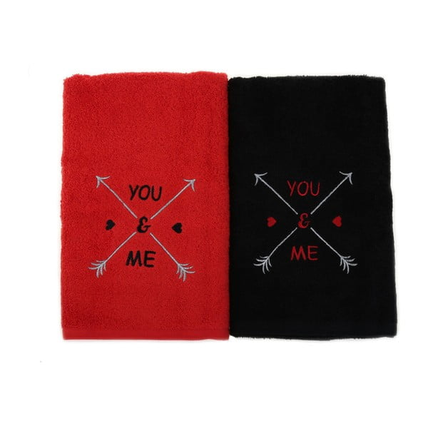 Komplet 2 czarno-czerwonych bawełnianych ręczników You & Me, 50x90 cm