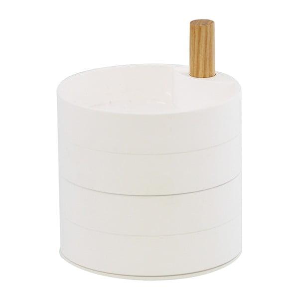Bílá šperkovnice s detailem z bukového dřeva YAMAZAKI Tosca