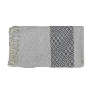 Šedá ručně tkaná osuška z prémiové bavlny Homemania Oasa Hammam,100x180 cm