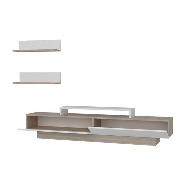 Set comodă TV și 2 rafturi de perete Lusi, alb-bej