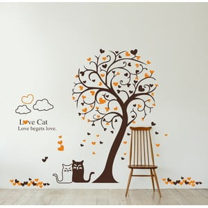 Samolepka na stěnu Kočka a strom, 60x90 cm