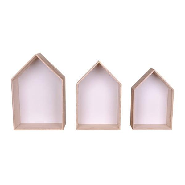 Set 3 rafturi de lemn House Nordic Verona, alb