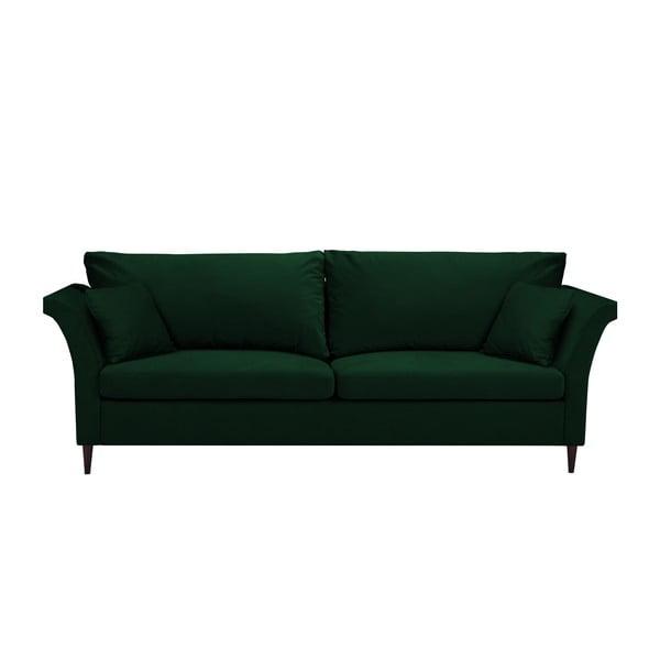 Zelená rozkladacia trojmiestna pohovka s úložným priestorom Mazzini Sofas Pivoine