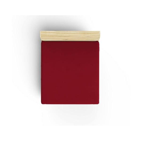 Tmavě červené neelastické bavlněné prostěradlo na jednolůžko Caresso, 90 x 190 cm