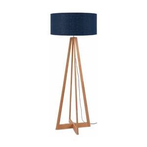 Stojací lampa s modrým  stínidlem a konstrukcí z bambusu Good&Mojo Everest