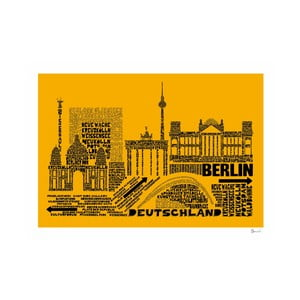 Plakát Berlin Yellow&Black, 50x70 cm