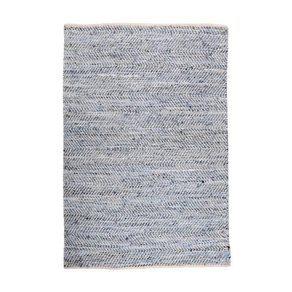 Denimový koberec propletený kůží Atlas Blue/Ivory, 160x230 cm
