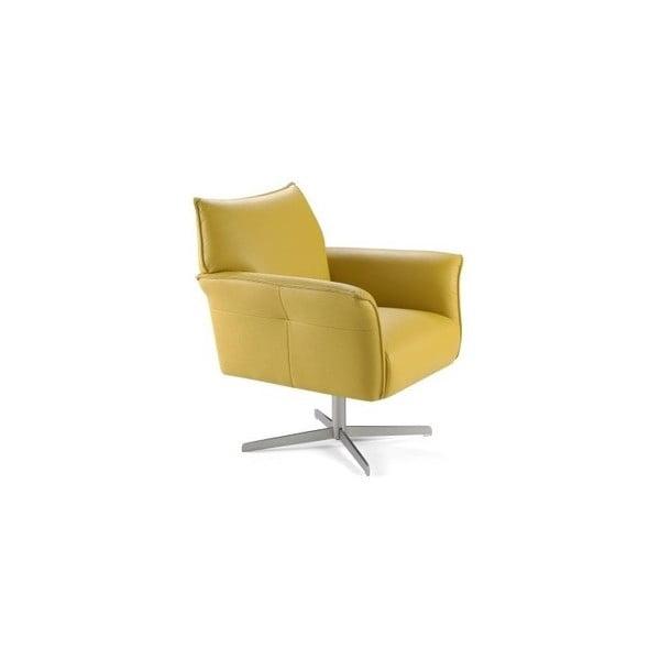 Žluté kožené křeslo Ángel Cerdá Dresser