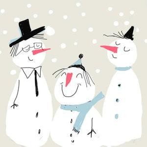 Balení 10 papírových ubrousků s vánočním motivem PPD Smiling Snowmen