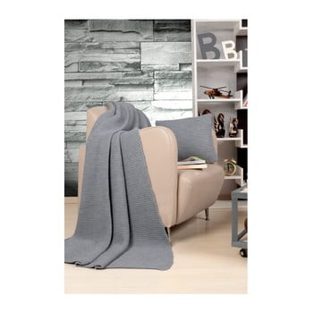 Set pătură și pernă Kate Louise Tricot Hanzade, gri de la Kate Louise