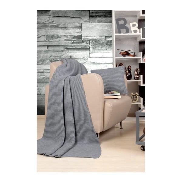 Tricot Blanket Set Hanzade szürke ágytakaró és párna szett - Kate Louise
