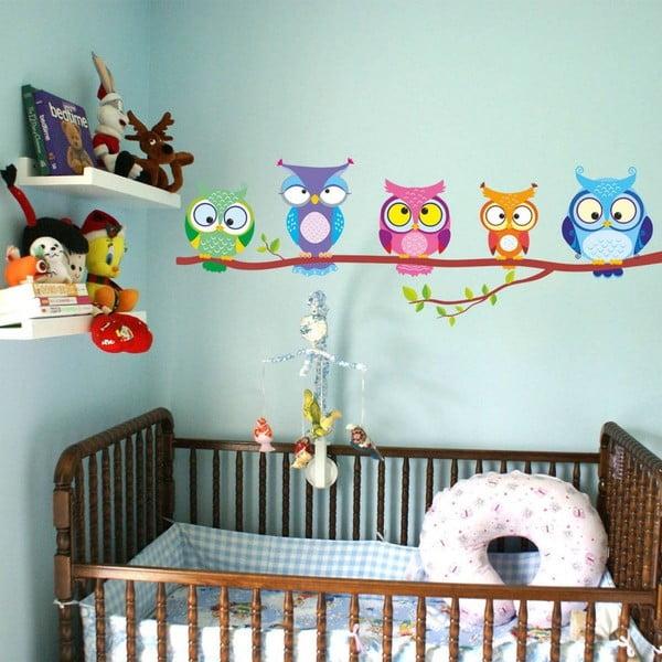 Nástěnná samolepka Big Owl Family