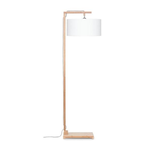 Stojací lampa s bílým stínidlem a konstrukcí z bambusu Good&Mojo Himalaya