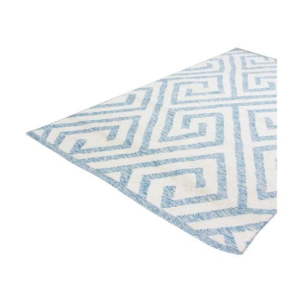 Vlněný koberec Kilim Design 69 Blue/White, 160x230 cm