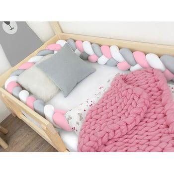 Protecție pătuț Benlemi Jersey,lungime 500cm, alb - gri - roz imagine