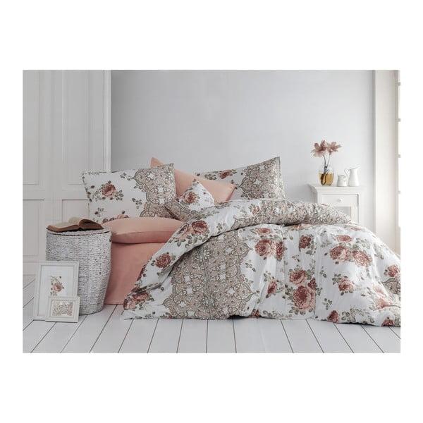 Lenjerie de pat din bumbac cu cearșaf Arnia, 200 x 220 cm, maro