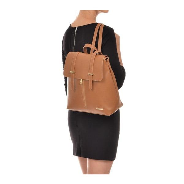 Koňakově hnědý kožený batoh Sofia Cardoni Backon