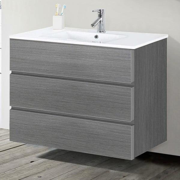 Koupelnová skříňka s umyvadlem a zrcadlem Nayade, odstín šedé, 100 cm