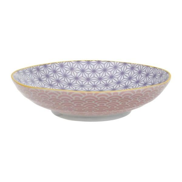 Ružovo-fialový porcelánový tanier na cestoviny Tokyo Design Studio Star / Wave