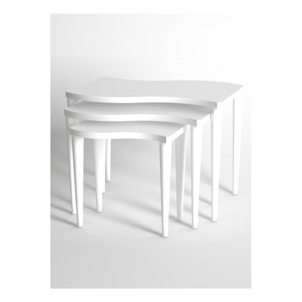 Sada 3 bílých konferenčních stolků Monte Gofrato