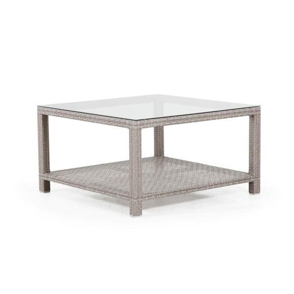 Béžový zahradní stolek se skleněnou deskou Brafab Weston, 100x100cm