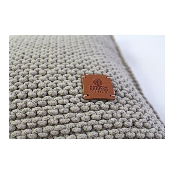 Pletený polštář Catness, béžový, 50x50 cm