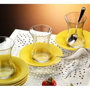 Čajový set 12 dílů, žlutý