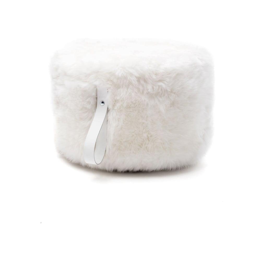 Bílý puf z ovčí kožešiny s bílým detailem Royal Dream,Ø60cm