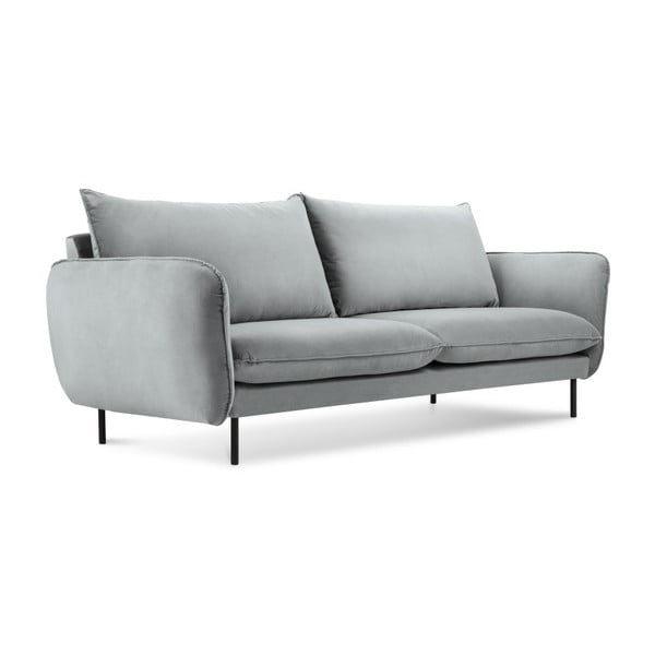 Jasnoszara aksamitna sofa Cosmopolitan Design Vienna, 160 cm