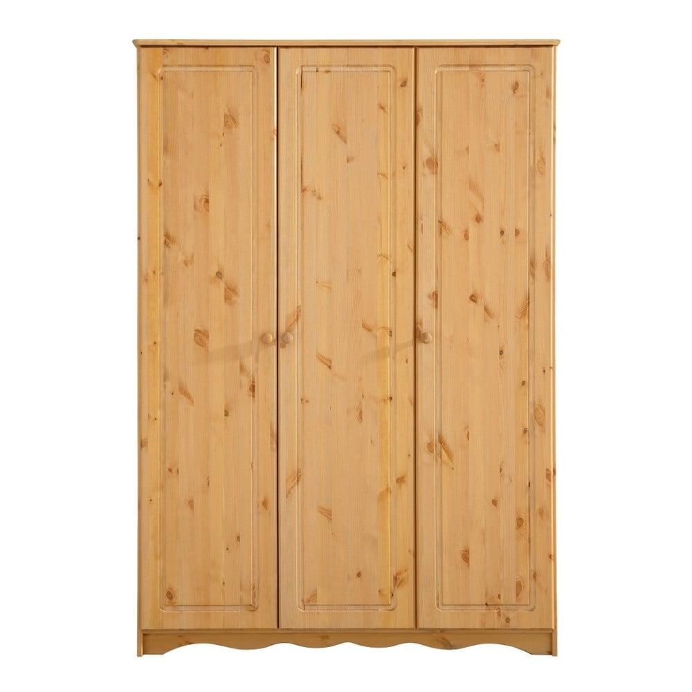 Třídveřová šatní skříň z masivního borovicového dřeva Støraa Amanda
