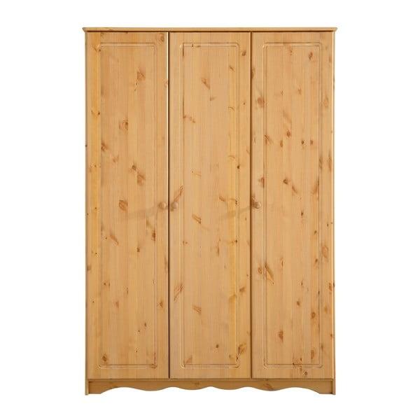 Trojdverová šatníková skriňa z masívneho borovicového dreva Støraa Amanda