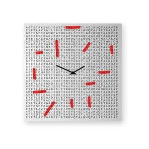 Nástěnné hodiny dESIGNoBJECT.it Crosswords,50x50cm