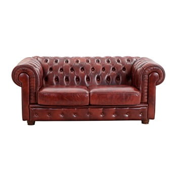 Canapea din piele cu 2 locuri Max Winzer Bridgeport roșu
