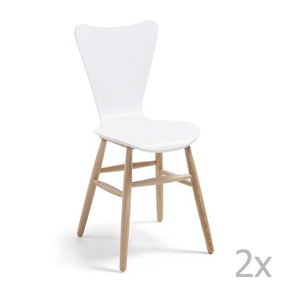Sada 2 bílých jídelních židlí La Forma Talic