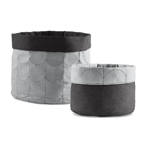 Sada 2 sivých obojstranných úložných boxov Flexa Room