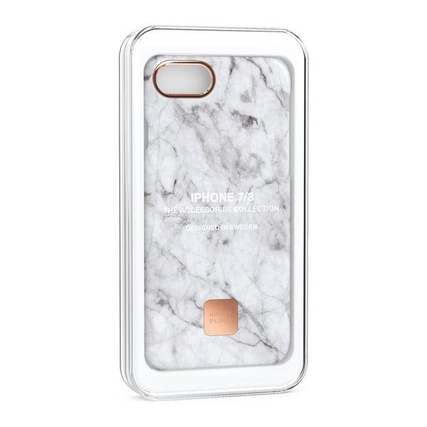 Husă protecție telefon pentru iPhone 7 și 8 Happy Plugs Slim, alb - gri