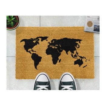 Covoraș intrare din fibre de cocos Artsy Doormats World Map, 40 x 60 cm de la Artsy Doormats
